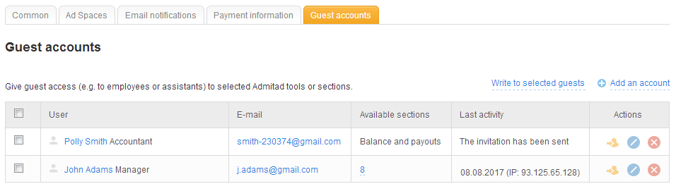Guest access to personal account 4