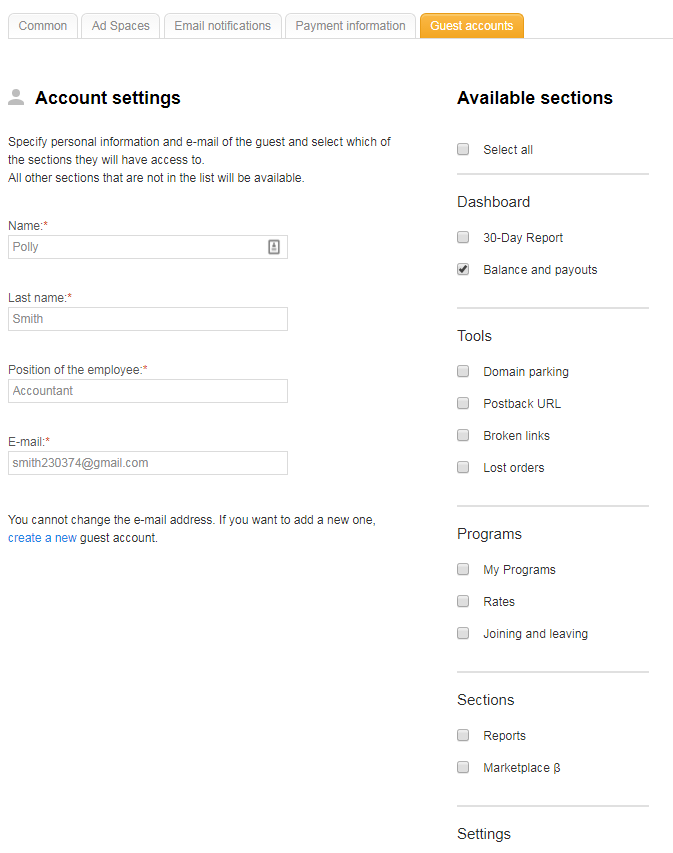 Guest access to personal account 3