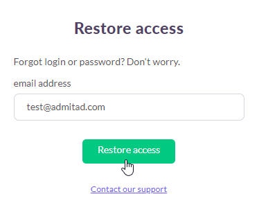 How to recover access to the account 1