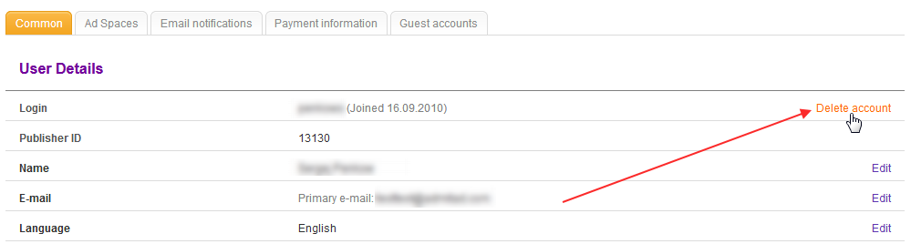 How to delete an account? 2