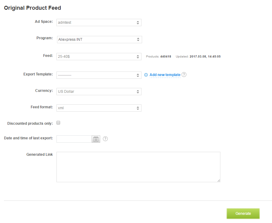 How to export product feed? 2