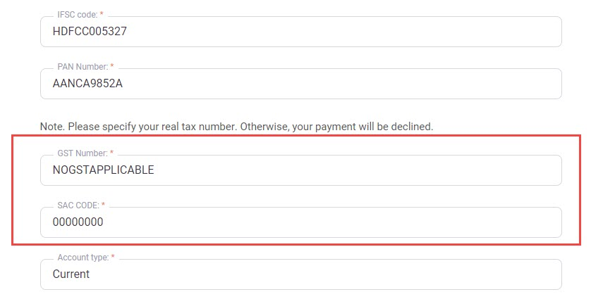 How to add a payment method, if I do not have the GST Number or the SAC Code?
