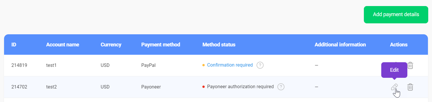 Can I edit a payment method?